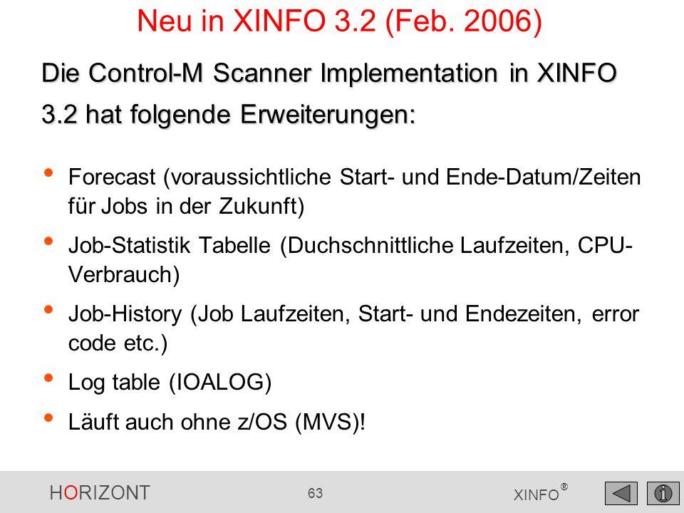 HORIZONT 64 XINFO ® Neu in XINFO 3.5 (Mai 2010) Ab CTM 6.4.01 gibt es längere Namen für Application, Table, Member etc.