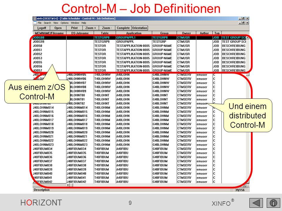 HORIZONT 10 XINFO ® Control-M – Job Definitionen, Nodeid Suche alle Jobs, die auf PC26 laufen
