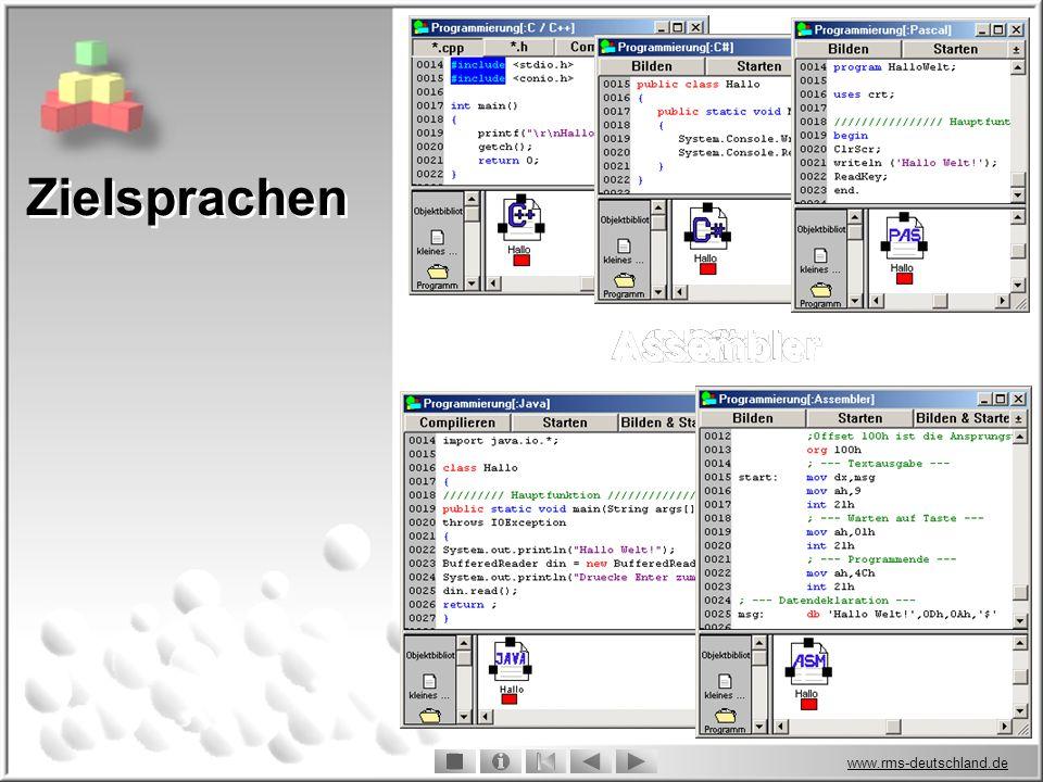 www.rms-deutschland.de Zielsprachen C / C++ C / C++ C / C++ C# C# C# Pascal Pascal Pascal Java Java Java Assembler Assembler Assembler