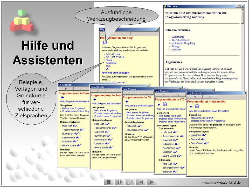 www.rms-deutschland.de Hilfe und Assistenten Ausführliche Werkzeugbeschreibung Beispiele, Vorlagen und Grundkurse für ver- schiedene Zielsprachen