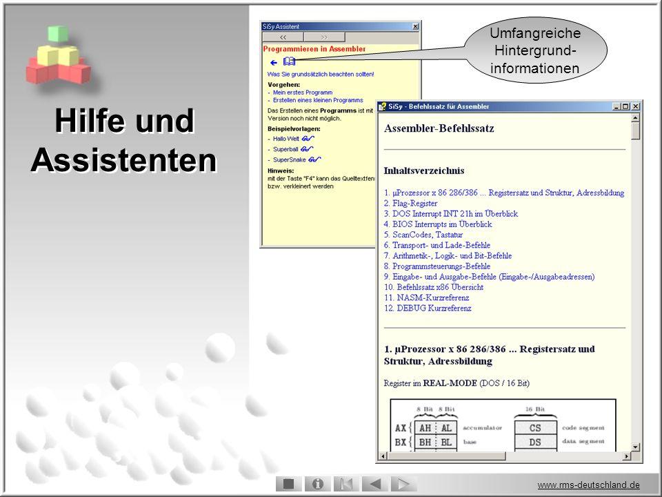 www.rms-deutschland.de Hilfe und Assistenten Umfangreiche Hintergrund- informationen