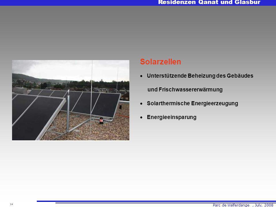 Parc de Walferdange, July, 2008 Residenzen Qanat und Glasbur 14 Solarzellen Unterstützende Beheizung des Gebäudes und Frischwassererwärmung Solarthermische Energieerzeugung Energieeinsparung