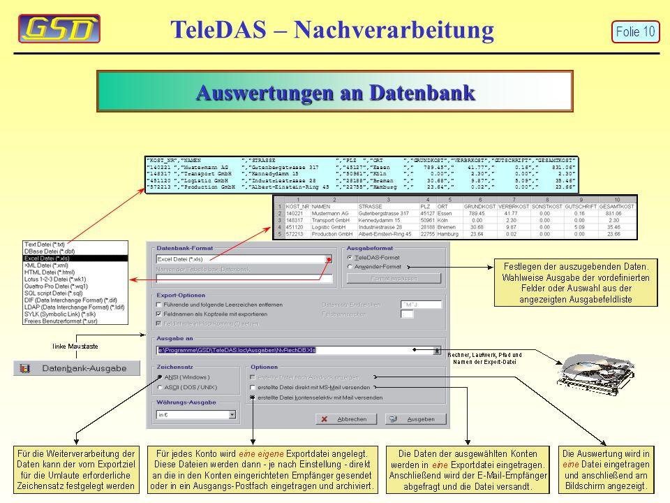 TeleDAS – Nachverarbeitung Auswertungen an Datenbank KOST_NR , NAMEN , STRASSE , PLZ , ORT , GRUNDKOST , VERBRKOST , GUTSCHRIFT , GESAMTKOST 140221 , Mustermann AG , Gutenbergstrasse 317 , 45127 , Essen , 789.45 , 41.77 , 0.16 , 831.06 148317 , Transport GmbH , Kennedydamm 15 , 50961 , Köln , 0.00 , 2.30 , 0.00 , 2.30 451120 , Logistic GmbH , Industriestrasse 28 , 28188 , Bremen , 30.68 , 9.87 , 5.09 , 35.46 572213 , Production GmbH , Albert-Einstein-Ring 45 , 22755 , Hamburg , 23.64 , 0.02 , 0.00 , 23.66 Folie 10