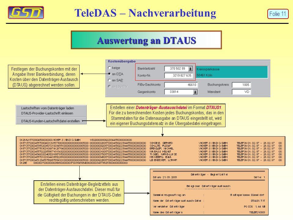 TeleDAS – Nachverarbeitung Auswertung an DTAUS Folie 11