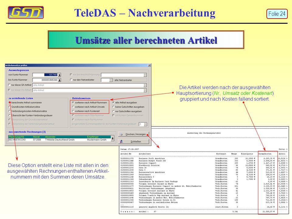 Umsätze aller berechneten Artikel TeleDAS – Nachverarbeitung Diese Option erstellt eine Liste mit allen in den ausgewählten Rechnungen enthaltenen Artikel- nummern mit den Summen deren Umsätze.