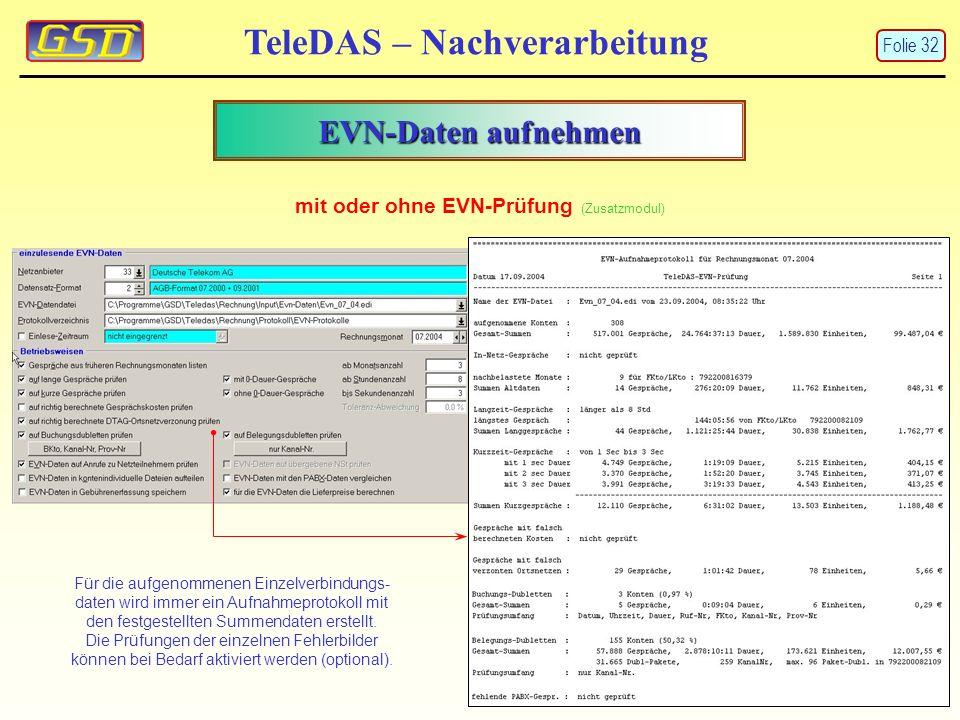 EVN-Daten aufnehmen TeleDAS – Nachverarbeitung mit oder ohne EVN-Prüfung (Zusatzmodul) Für die aufgenommenen Einzelverbindungs- daten wird immer ein Aufnahmeprotokoll mit den festgestellten Summendaten erstellt.