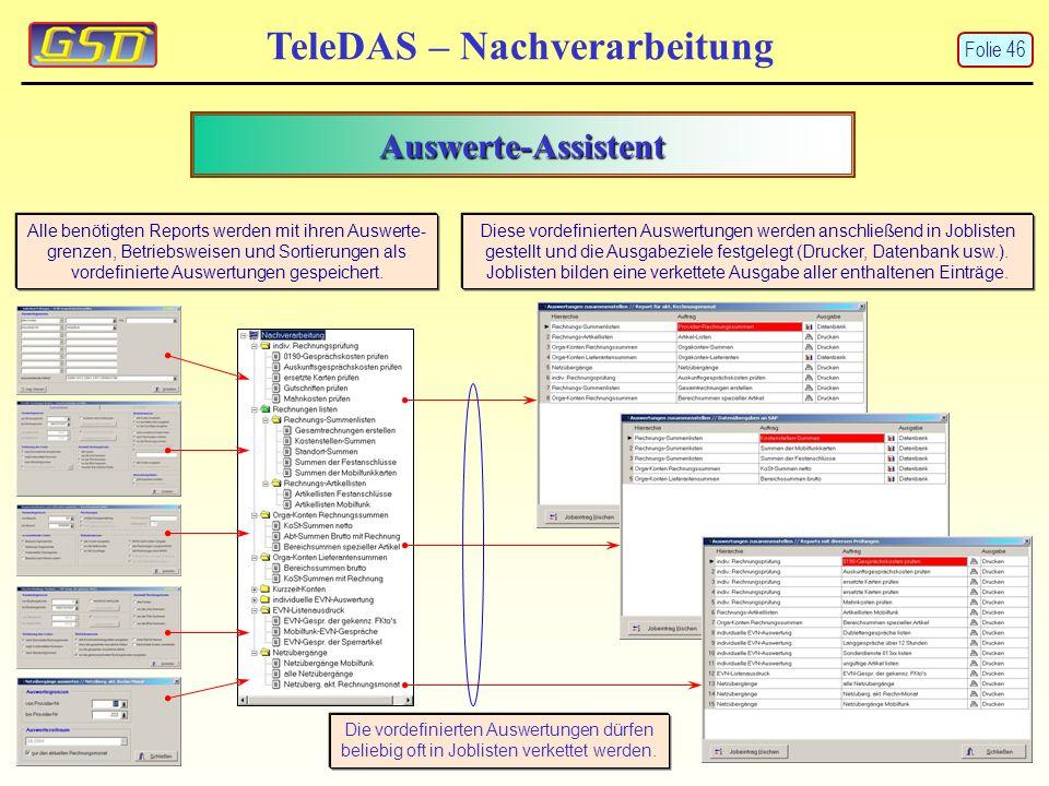 Auswerte-Assistent TeleDAS – Nachverarbeitung Alle benötigten Reports werden mit ihren Auswerte- grenzen, Betriebsweisen und Sortierungen als vordefinierte Auswertungen gespeichert.
