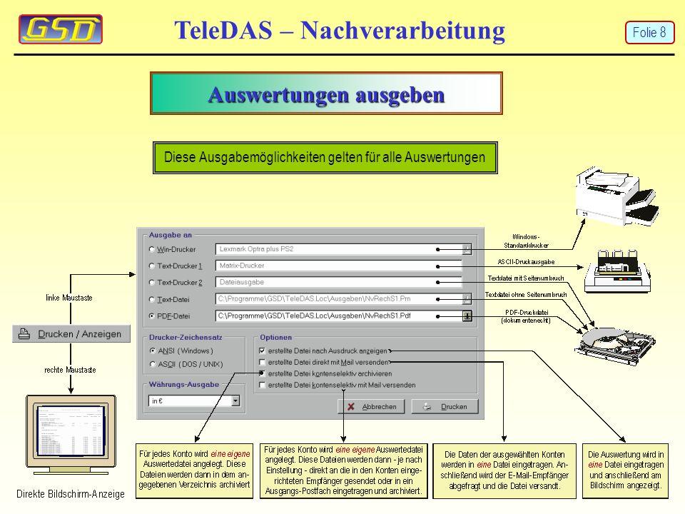 Drucken in Archivverzeichnisse TeleDAS – Nachverarbeitung Diese Ausgabemöglichkeiten gelten für alle Auswertungen Folie 9