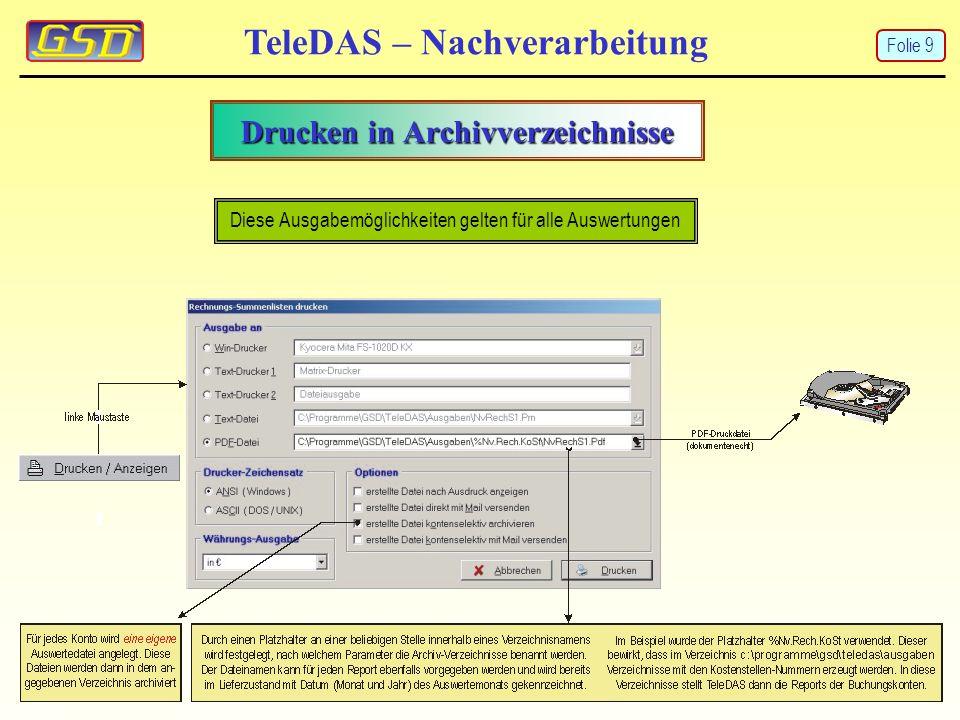 EVN-Rufnummern-Satistik TeleDAS – Nachverarbeitung Die Summen der angewählten Ziele werden aus den EVN-Daten in Abhängigkeit des Zeitraumes und einer ggf.