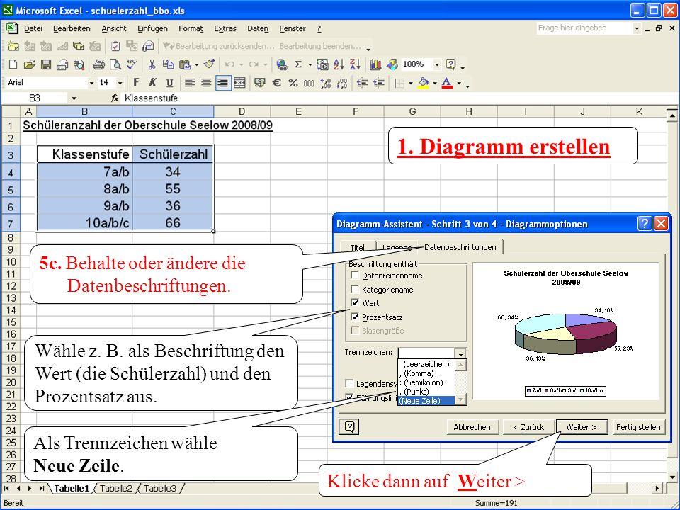 1. Diagramm erstellen 5c. Behalte oder ändere die Datenbeschriftungen. Wähle z. B. als Beschriftung den Wert (die Schülerzahl) und den Prozentsatz aus