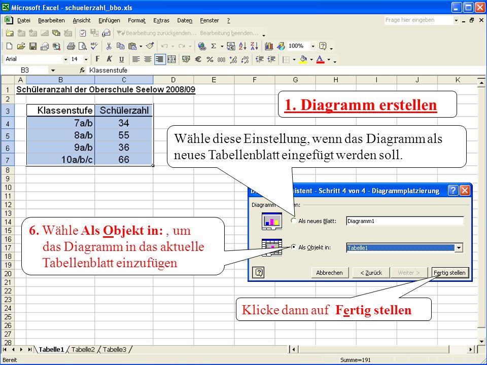 1. Diagramm erstellen Wähle diese Einstellung, wenn das Diagramm als neues Tabellenblatt eingefügt werden soll. 6. Wähle Als Objekt in:, um das Diagra