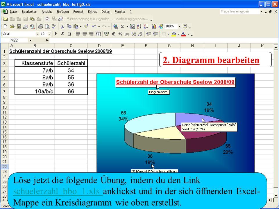 2. Diagramm bearbeiten Löse jetzt die folgende Übung, indem du den Link schuelerzahl_bbo_1.xls schuelerzahl_bbo_1.xls anklickst und in der sich öffnen