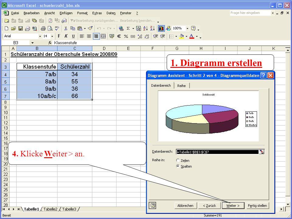 2. Klicke die Schaltflche Diagramm einf[gen an. 1. Diagramm erstellen 4. Klicke Weiter > an.