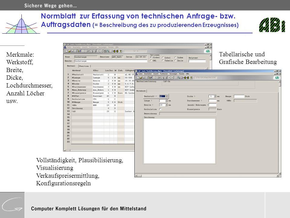 Normblatt zur Erfassung von technischen Anfrage- bzw. Auftragsdaten (= Beschreibung des zu produzierenden Erzeugnisses) Merkmale: Werkstoff, Breite, D