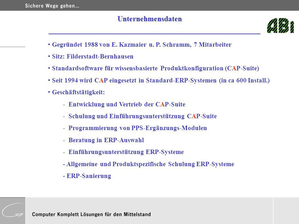 Gegründet 1988 von E. Kazmaier u. P. Schramm, 7 Mitarbeiter Sitz: Filderstadt-Bernhausen Standardsoftware für wissensbasierte Produktkonfiguration (CA