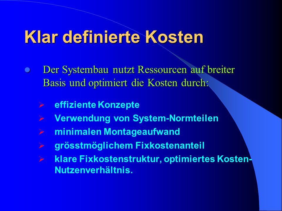 Klar definierte Kosten Der Systembau nutzt Ressourcen auf breiter Basis und optimiert die Kosten durch: Der Systembau nutzt Ressourcen auf breiter Bas