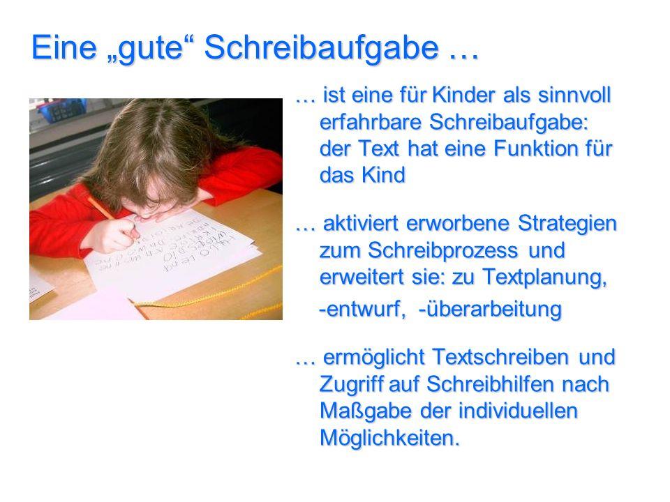Eine gute Schreibaufgabe … … ist eine für Kinder als sinnvoll erfahrbare Schreibaufgabe: der Text hat eine Funktion für das Kind … aktiviert erworbene