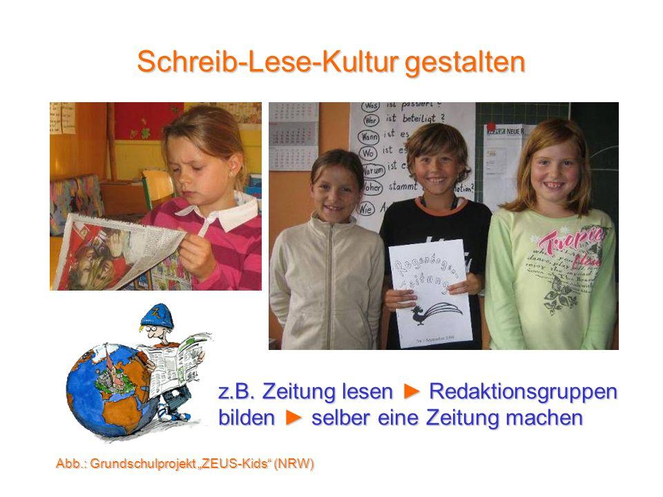 z.B. Zeitung lesen Redaktionsgruppen bilden selber eine Zeitung machen Schreib-Lese-Kultur gestalten Abb.: Grundschulprojekt ZEUS-Kids (NRW)