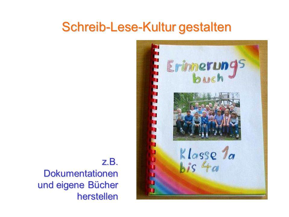 z.B.Dokumentationen und eigene Bücher herstellen Schreib-Lese-Kultur gestalten