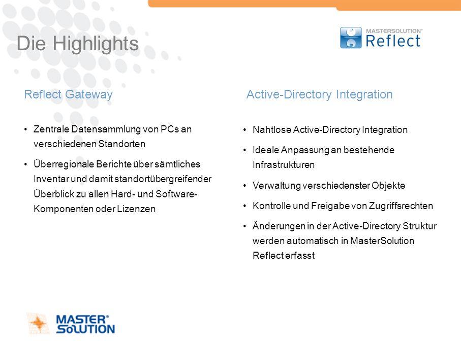 Die Highlights Reflect Gateway Zentrale Datensammlung von PCs an verschiedenen Standorten Überregionale Berichte über sämtliches Inventar und damit st