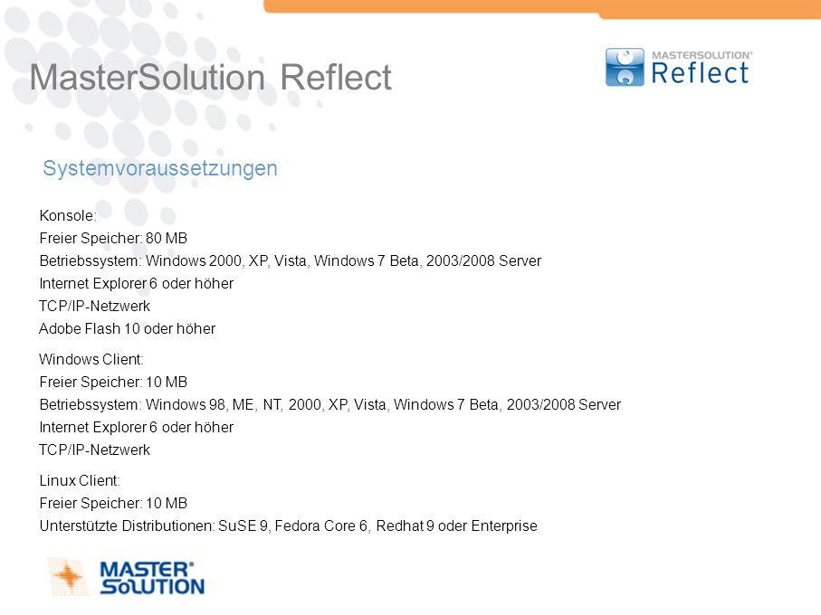 MasterSolution Reflect Systemvoraussetzungen Konsole: Freier Speicher: 80 MB Betriebssystem: Windows 2000, XP, Vista, Windows 7 Beta, 2003/2008 Server