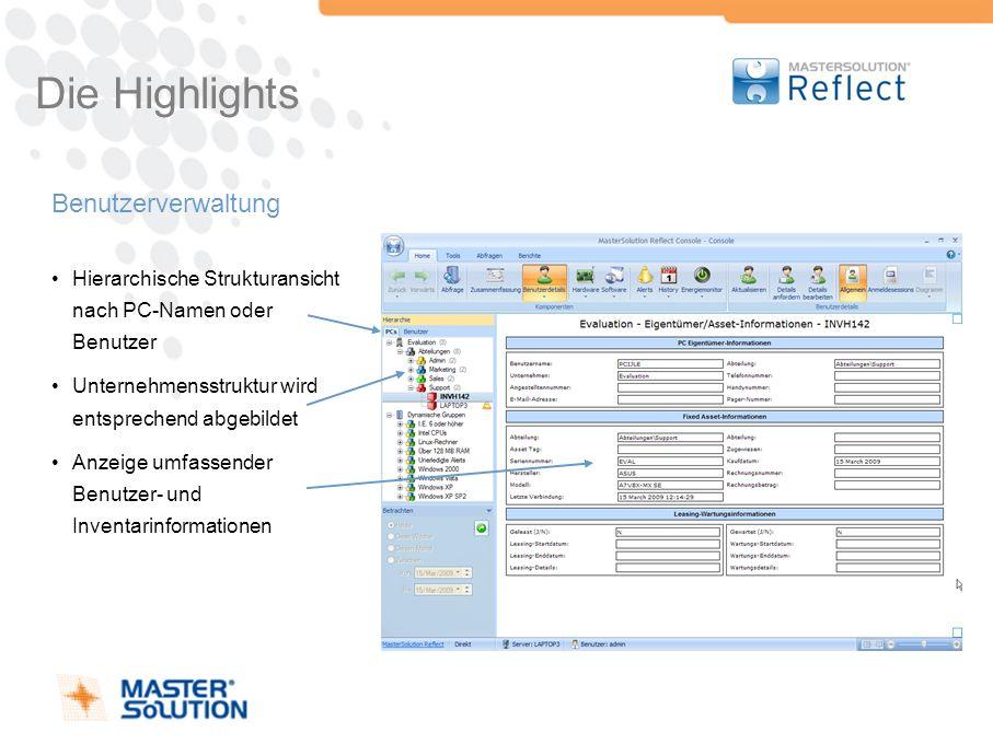 Die Highlights Benutzerverwaltung Hierarchische Strukturansicht nach PC-Namen oder Benutzer Unternehmensstruktur wird entsprechend abgebildet Anzeige