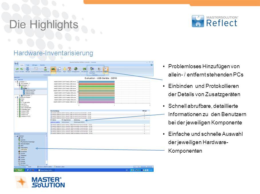 Die Highlights Hardware-Inventarisierung Problemloses Hinzufügen von allein- / entfernt stehenden PCs Einbinden und Protokollieren der Details von Zus