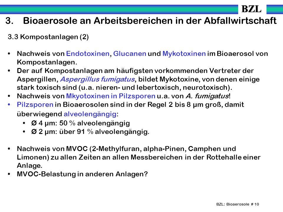 BZL: Bioaerosole # 10 3.Bioaerosole an Arbeitsbereichen in der Abfallwirtschaft 3.3 Kompostanlagen (2) Nachweis von Endotoxinen, Glucanen und Mykotoxinen im Bioaerosol von Kompostanlagen.