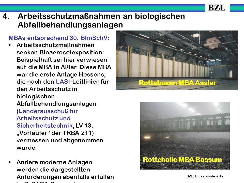 BZL: Bioaerosole # 12 MBAs entsprechend 30. BImSchV: Arbeitsschutzmaßnahmen senken Bioaerosolexposition: Beispielhaft sei hier verwiesen auf die MBA i