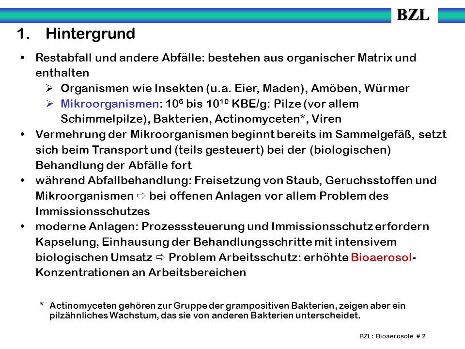 BZL: Bioaerosole # 13 5.Immissionsbelastung durch biologische Abfallbehandlungsanlagen Unbelastete Außenluft: wenige Hundert bis wenige Tausend (10 2 bis 10 3 ) KBE/m³ (Gesamtkeime).