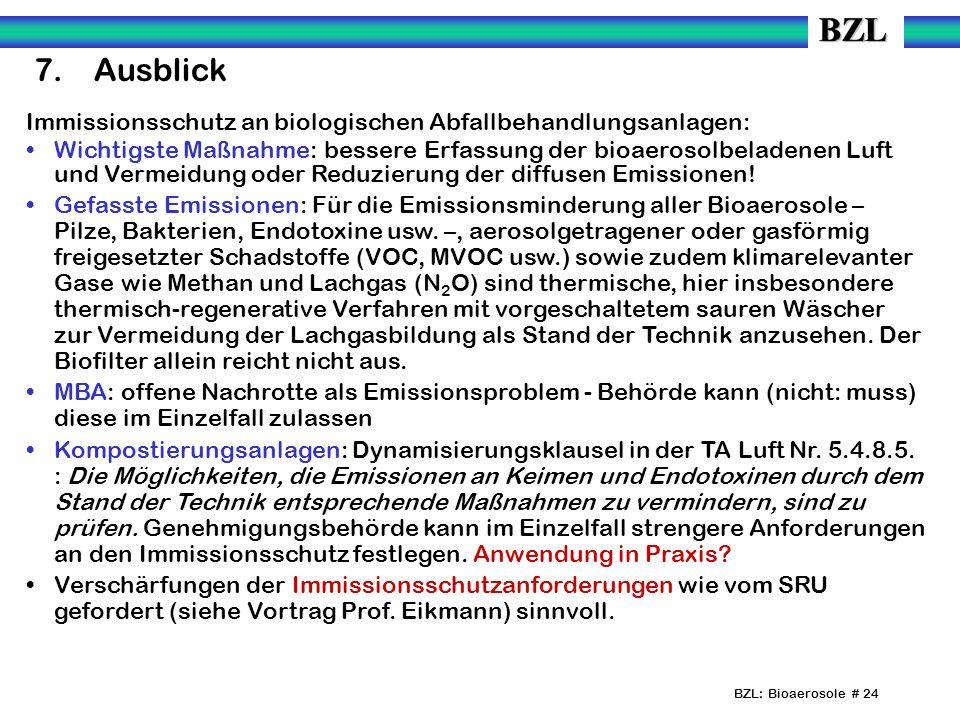 BZL: Bioaerosole # 24 7.Ausblick Immissionsschutz an biologischen Abfallbehandlungsanlagen: Wichtigste Maßnahme: bessere Erfassung der bioaerosolbeladenen Luft und Vermeidung oder Reduzierung der diffusen Emissionen.