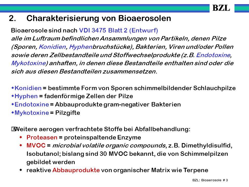 BZL: Bioaerosole # 3 2. Charakterisierung von Bioaerosolen Bioaerosole sind nach VDI 3475 Blatt 2 (Entwurf) alle im Luftraum befindlichen Ansammlungen