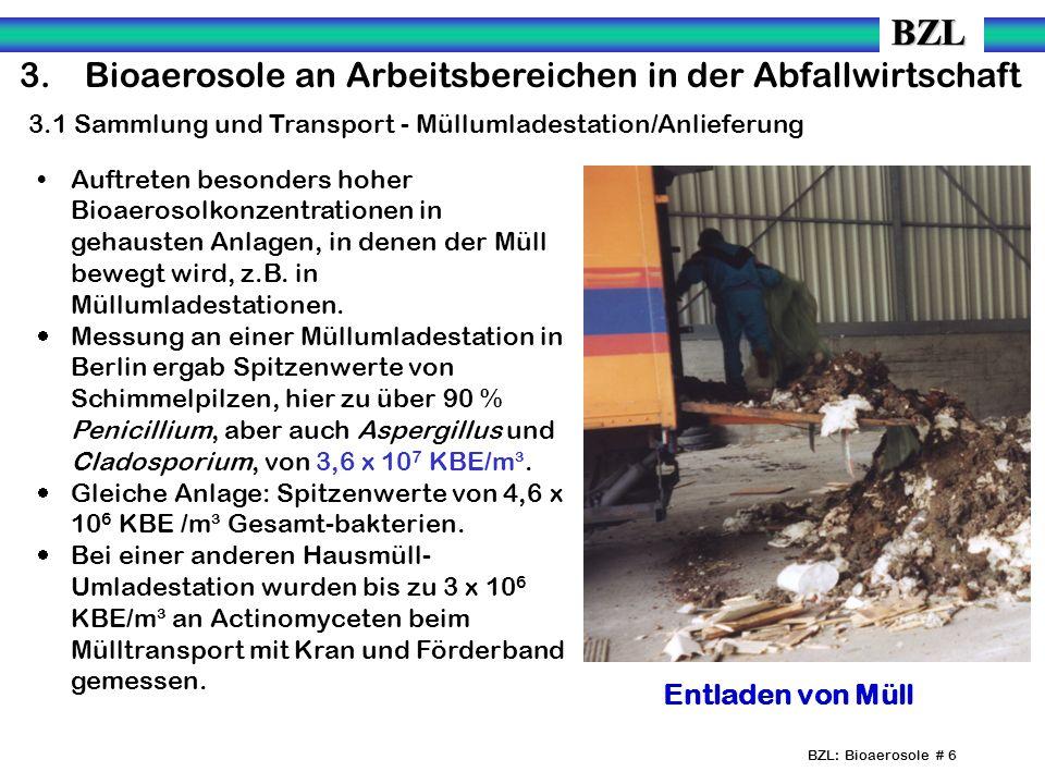 BZL: Bioaerosole # 6 3.Bioaerosole an Arbeitsbereichen in der Abfallwirtschaft 3.1 Sammlung und Transport - Müllumladestation/Anlieferung Auftreten besonders hoher Bioaerosolkonzentrationen in gehausten Anlagen, in denen der Müll bewegt wird, z.B.
