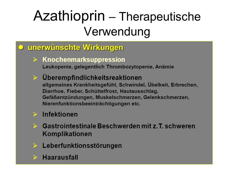 Azathioprin – Therapeutische Verwendung unerwünschte Wirkungen unerwünschte Wirkungen Knochenmarksuppression Leukopenie, gelegentlich Thrombozytopenie