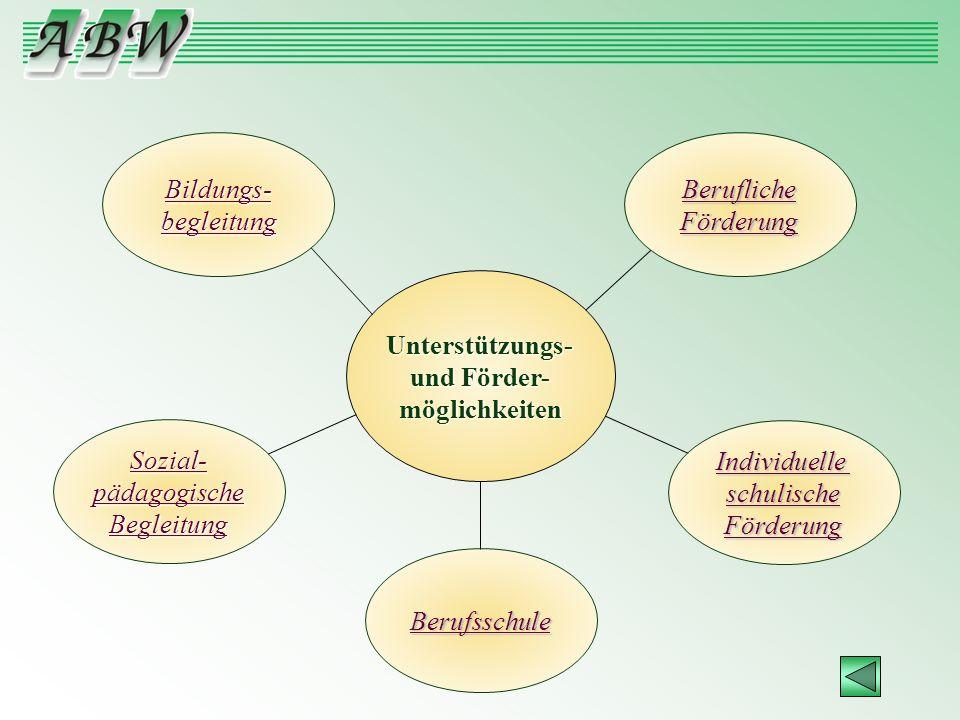Unterstützungs- und Förder- möglichkeiten Sozial- pädagogische Begleitung Bildungs- begleitung Individuelle schulische Förderung Berufliche Förderung