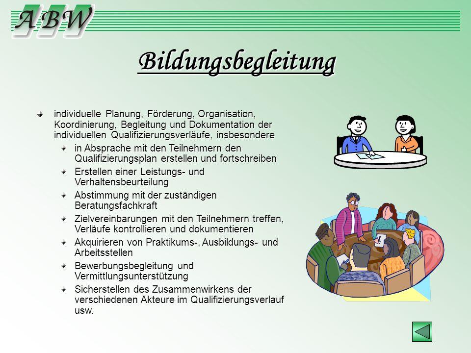 Bildungsbegleitung individuelle Planung, Förderung, Organisation, Koordinierung, Begleitung und Dokumentation der individuellen Qualifizierungsverläuf