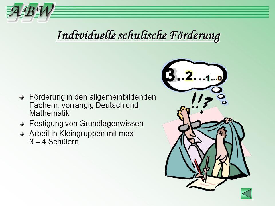 Individuelle schulische Förderung Förderung in den allgemeinbildenden Fächern, vorrangig Deutsch und Mathematik Festigung von Grundlagenwissen Arbeit