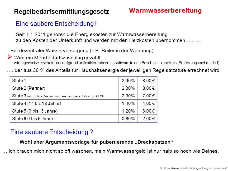 Seit 1.1.2011 gehören die Energiekosten zur Warmwasserbereitung zu den Kosten der Unterkunft und werden mit den Heizkosten übernommen………. Bei dezentra