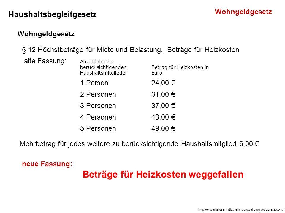 Haushaltsbegleitgesetz Wohngeldgesetz § 12 Höchstbeträge für Miete und Belastung, Beträge für Heizkosten alte Fassung: Mehrbetrag für jedes weitere zu