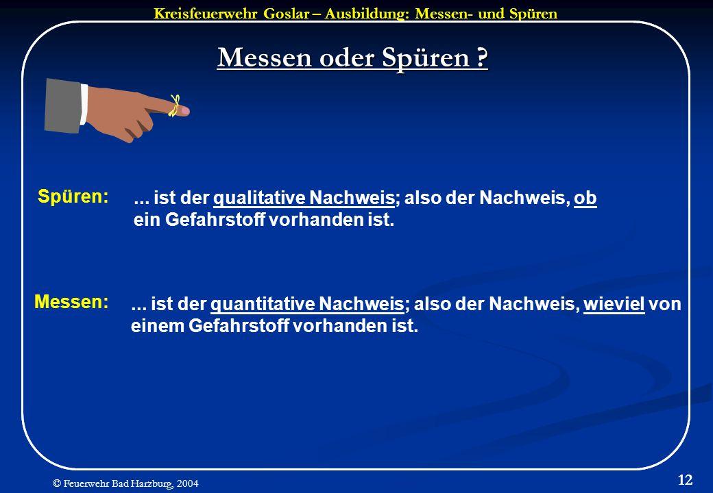 Kreisfeuerwehr Goslar – Ausbildung: Messen- und Spüren © Feuerwehr Bad Harzburg, 2004 12 Messen oder Spüren ? Spüren:... ist der qualitative Nachweis;
