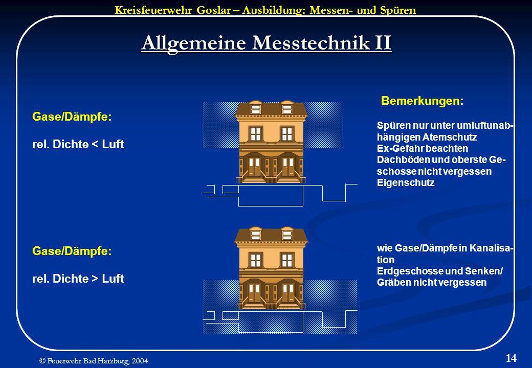 Kreisfeuerwehr Goslar – Ausbildung: Messen- und Spüren © Feuerwehr Bad Harzburg, 2004 14 Allgemeine Messtechnik II Gase/Dämpfe: rel. Dichte < Luft Gas