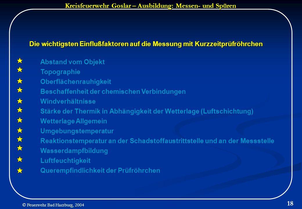 Kreisfeuerwehr Goslar – Ausbildung: Messen- und Spüren © Feuerwehr Bad Harzburg, 2004 18 Die wichtigsten Einflußfaktoren auf die Messung mit Kurzzeitp