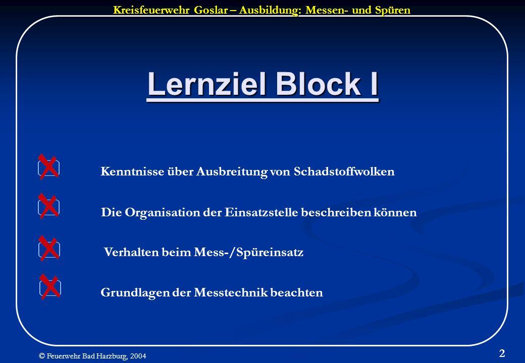 Kreisfeuerwehr Goslar – Ausbildung: Messen- und Spüren © Feuerwehr Bad Harzburg, 2004 2 Lernziel Block I Grundlagen der Messtechnik beachten Verhalten