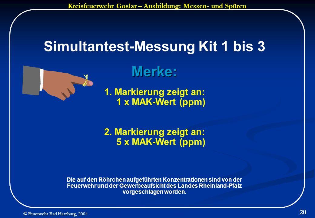 Kreisfeuerwehr Goslar – Ausbildung: Messen- und Spüren © Feuerwehr Bad Harzburg, 2004 20 Simultantest-Messung Kit 1 bis 3Merke: 1. Markierung zeigt an