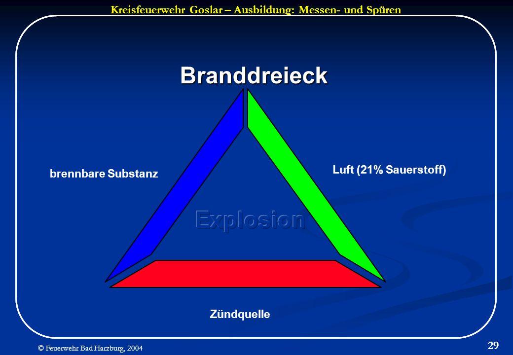 Kreisfeuerwehr Goslar – Ausbildung: Messen- und Spüren © Feuerwehr Bad Harzburg, 2004 29 Branddreieck brennbare Substanz Luft (21% Sauerstoff) Zündque