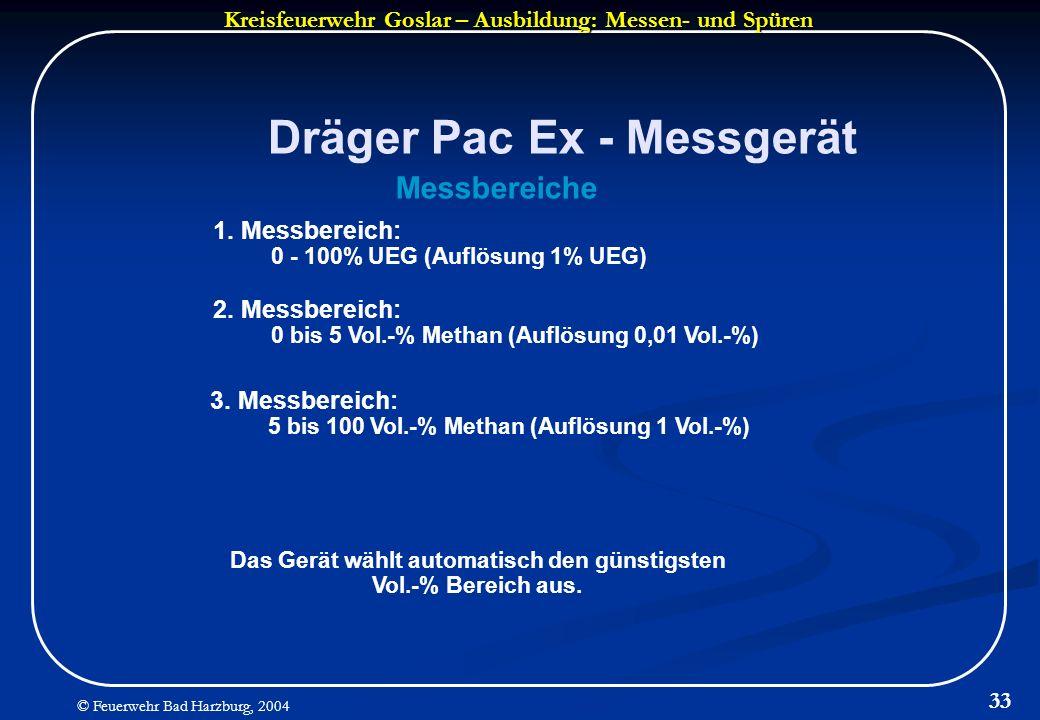 Kreisfeuerwehr Goslar – Ausbildung: Messen- und Spüren © Feuerwehr Bad Harzburg, 2004 33 Dräger Pac Ex - Messgerät Messbereiche 1. Messbereich: 0 - 10