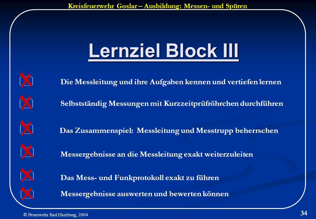 Kreisfeuerwehr Goslar – Ausbildung: Messen- und Spüren © Feuerwehr Bad Harzburg, 2004 34 Lernziel Block III Messergebnisse an die Messleitung exakt we