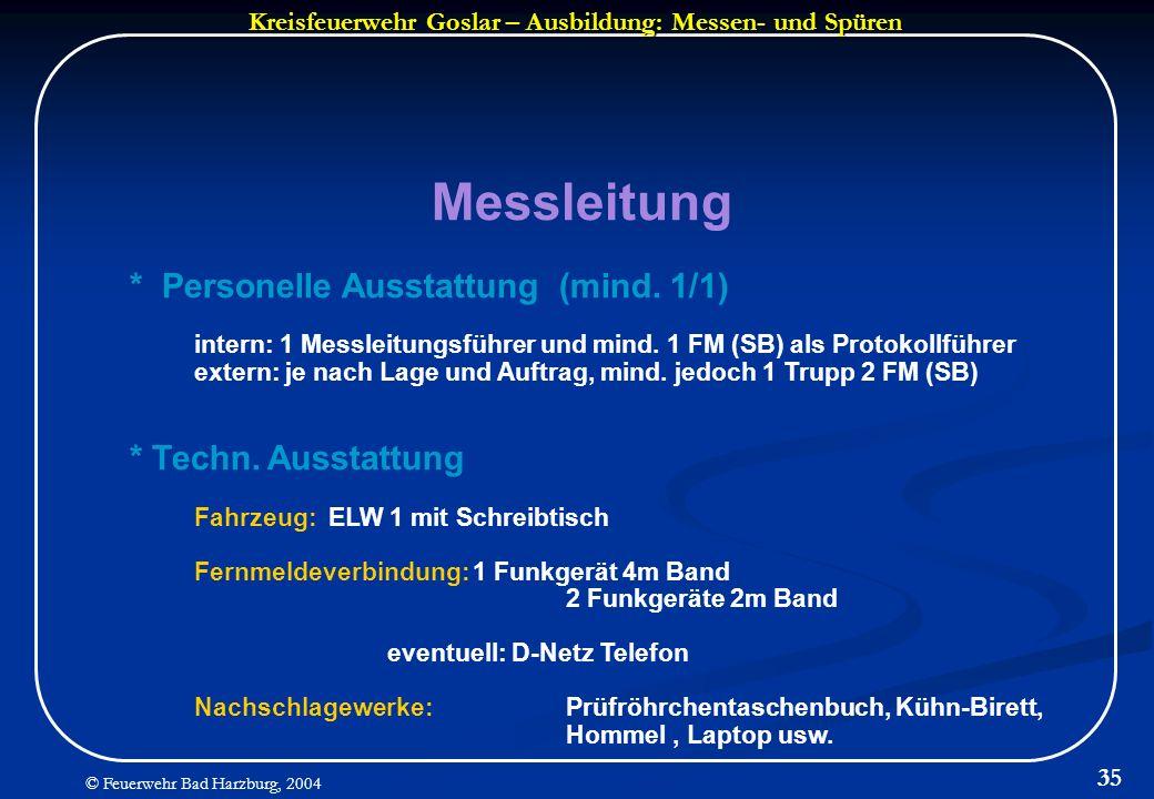 Kreisfeuerwehr Goslar – Ausbildung: Messen- und Spüren © Feuerwehr Bad Harzburg, 2004 35 Messleitung * Personelle Ausstattung (mind. 1/1) intern: 1 Me