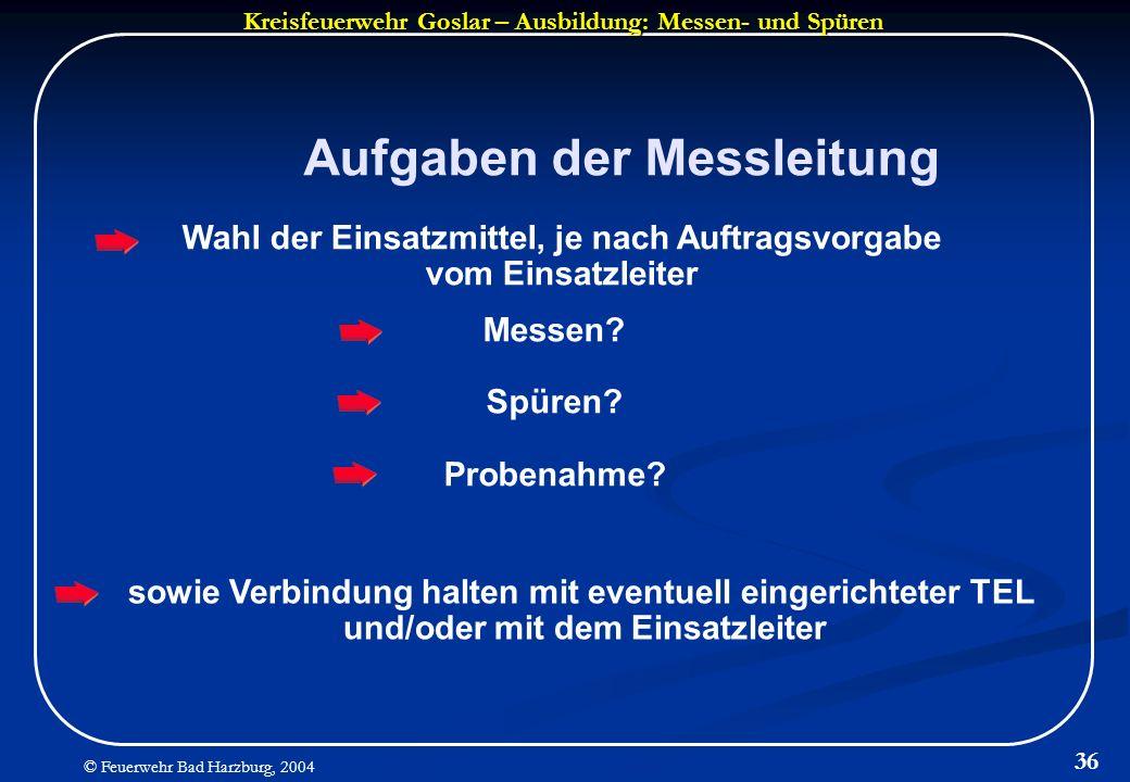 Kreisfeuerwehr Goslar – Ausbildung: Messen- und Spüren © Feuerwehr Bad Harzburg, 2004 36 Aufgaben der Messleitung Wahl der Einsatzmittel, je nach Auft