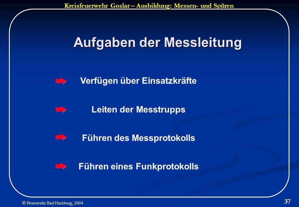 Kreisfeuerwehr Goslar – Ausbildung: Messen- und Spüren © Feuerwehr Bad Harzburg, 2004 37 Aufgaben der Messleitung Verfügen über Einsatzkräfte Leiten d